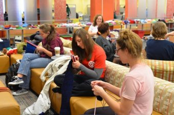 Students Knitting at Kent State
