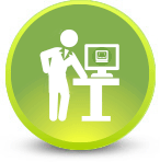 Librarian standing at desk with computer and OhioLINK logo on screen