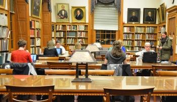 Students studying at Denison University library